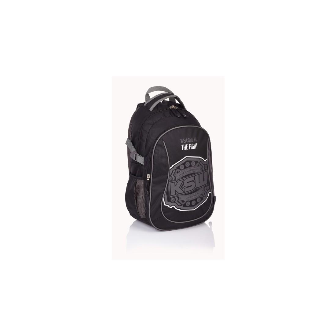 Plecak miejski KSW czarny z kieszeniami i nadrukami