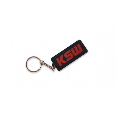 Brelok do kluczy czarny KSW gumowy z czerwonym logo