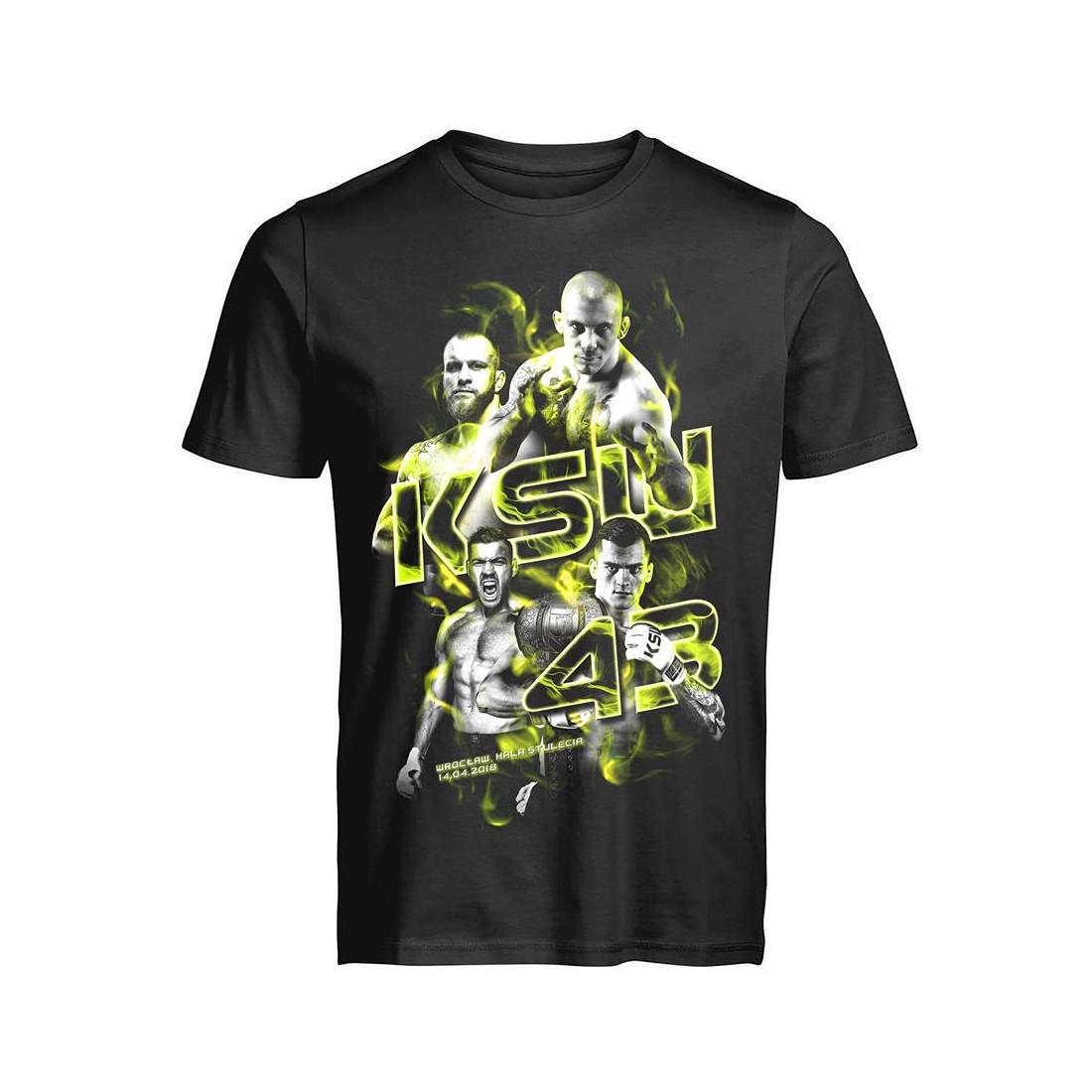 T shirt męski KSW 43 czarny okolicznościowy z nadrukiem