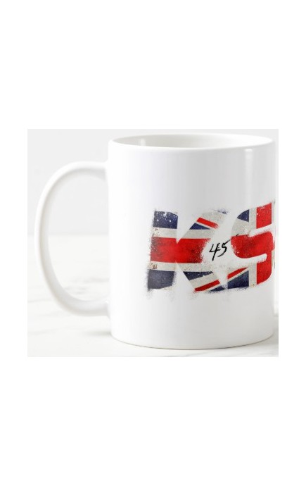 Kubek ceramiczny KSW 45 330 ml biały z logo w kolorze brytyjskiej flagi