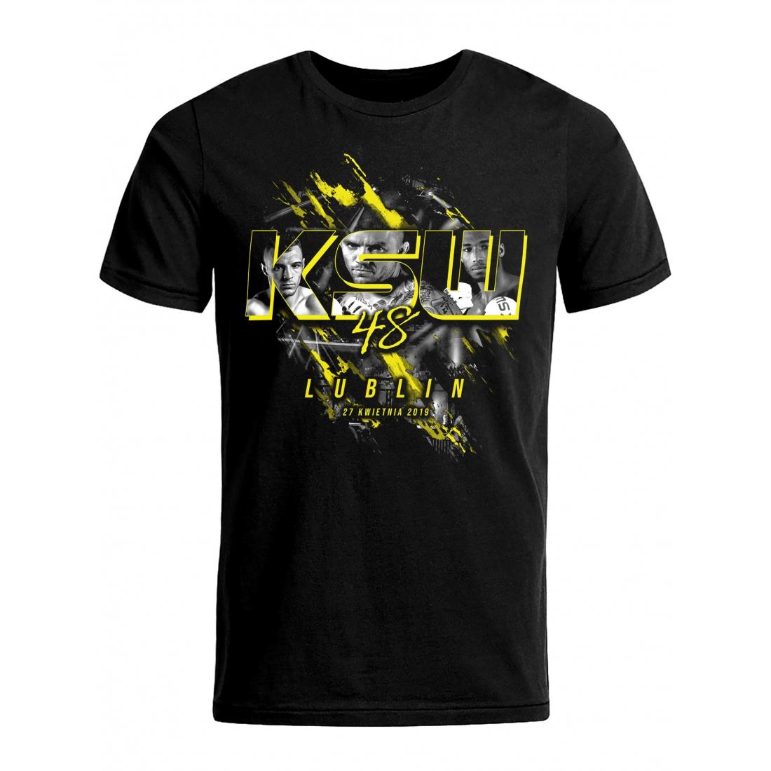 T shirt męski KSW 48 czarny okolicznościowy z nadrukiem