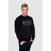 Bluza bez kaptura KSW BLACKEST BLACK czarna nierozpinana z nadrukiem bok