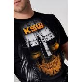 Nadruk czaszka w hełmie vikinga z logiem KSW tshirt KSW MAD VIKING czarny