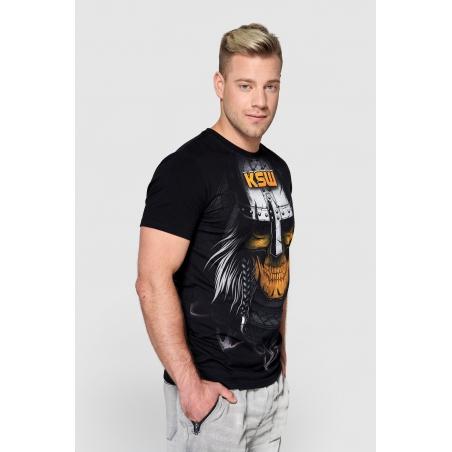 T shirt męski KSW MAD VIKING czarny z motywem vikinga bok