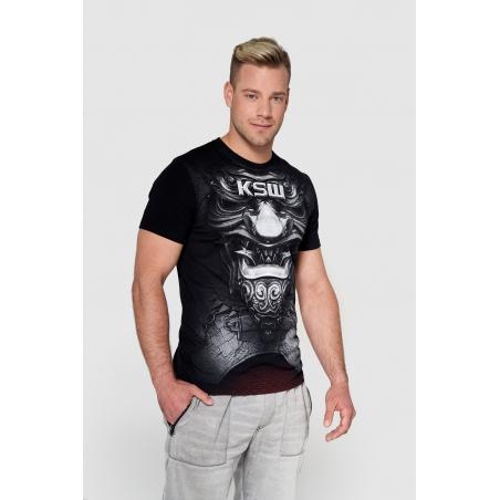 T shirt męski KSW LAST SAMURAJ czarny z motywem samuraja