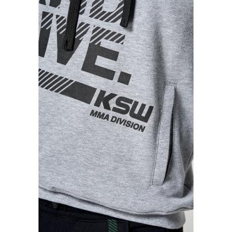 Nadruk bluzy z kapturem KSW CLASSIC nierozpinanej szarej