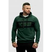 Bluza męska z kapturem KSW Basic zielona nierozpinana z haftowanym logo