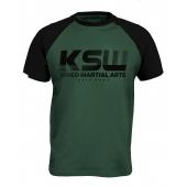T shirt męski reglan KSW CLASSIC zielony z czarnymi rękawkami i nadrukiem
