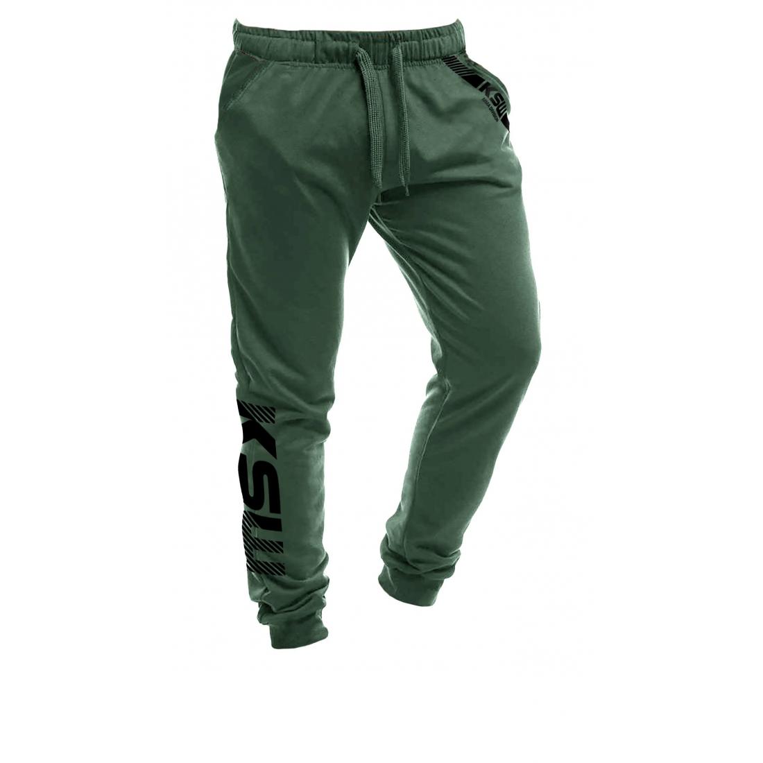 Joggery męskie KSW CLASSIC zielone z czarnym nadrukiem