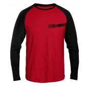Longsleeve męski KSW CLASSIC czerwony z czarnymi rękawami i nadrukami przód