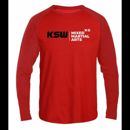 Longsleeve męski czerwony KSW z czarno-białymi nadrukami przód