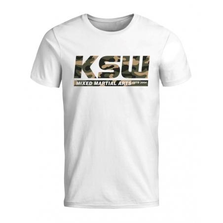 T shirt męski KSW MORO biały z nadrukiem