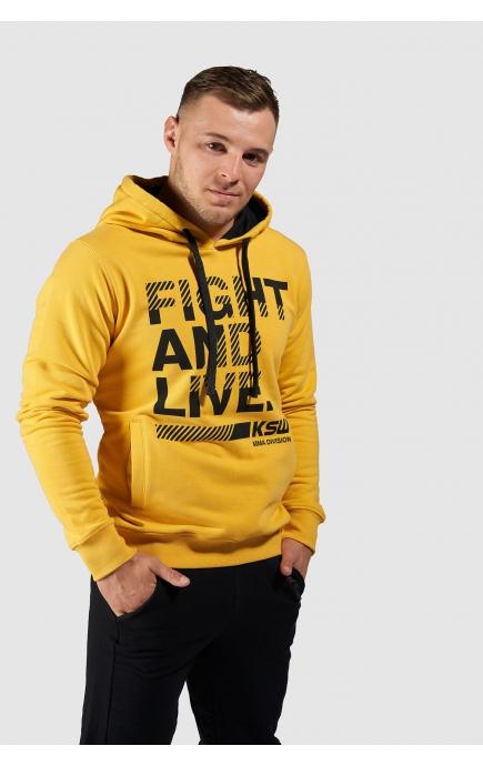 Bluza męska z kapturem KSW CLASSIC nierozpinana żółta z nadrukiem