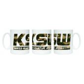 Kubek ceramiczny KSW MORO 330 ml biały z logo w kamuflaż