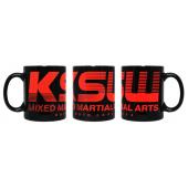 Kubek ceramiczny KSW Classic 330 ml czarny z czerwonym logo