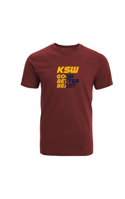 T-shirt męski bordowy KSW z żółto-granatowym nadrukiem
