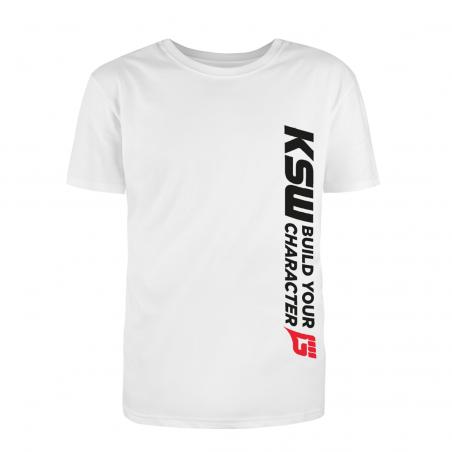 T-shirt męski biały KSW CLUB z pionowym czarno-czerwonym nadrukiem