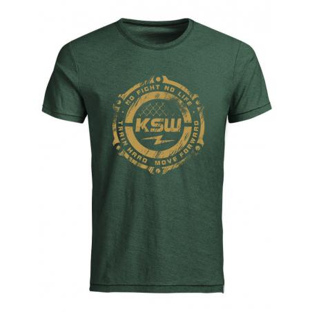 T-shirt męski zielony KSW CLUB z żółtym nadrukiem