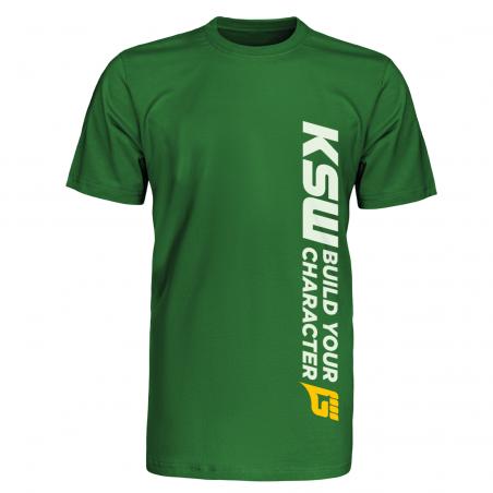 T-shirt męski KSW CAGE zielony z biało-żółtym nadrukiem