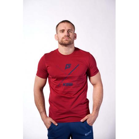 T-shirt męski bordowy KSW X z granatowym nadrukiem