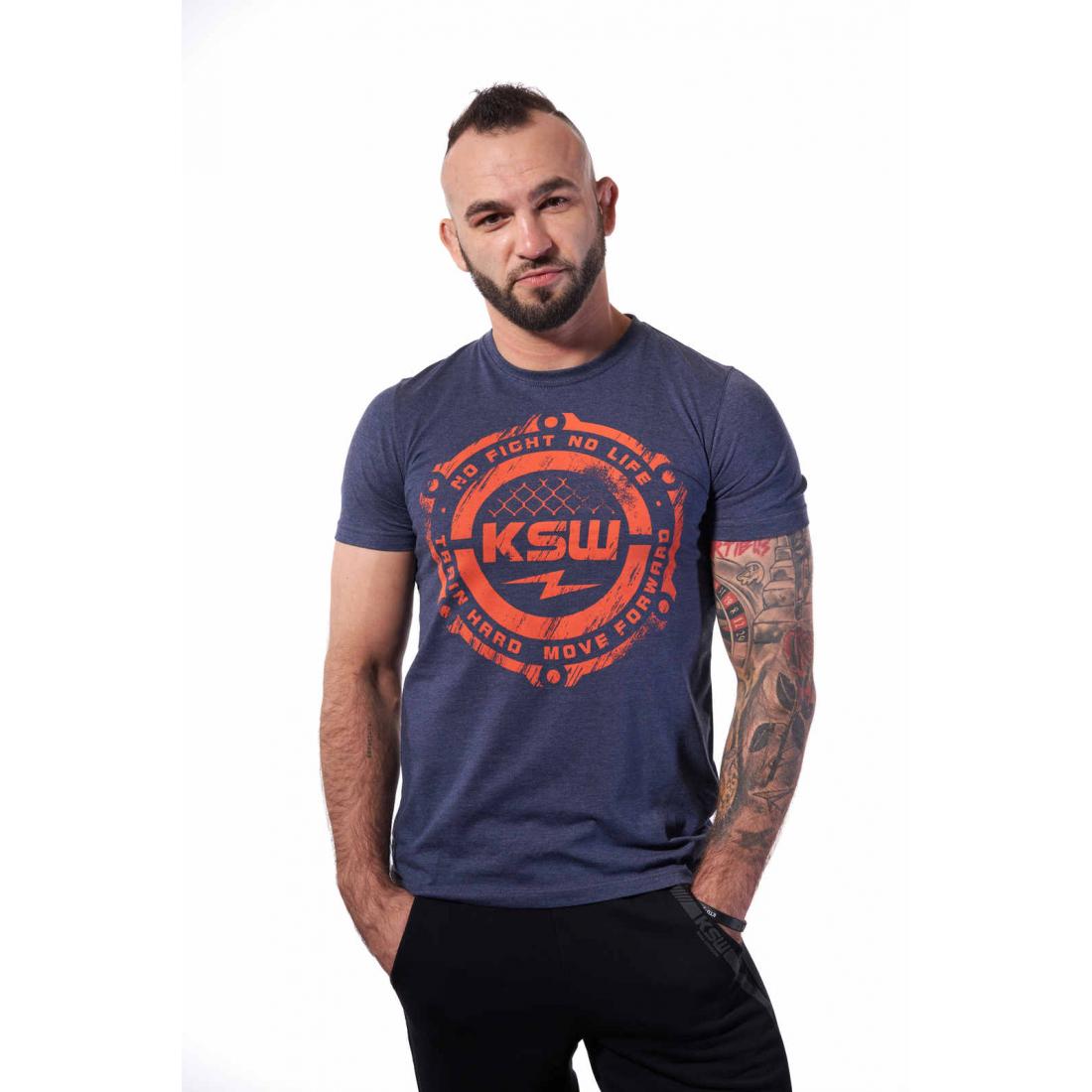T-shirt męski melanżowy KSW STORM z pomarańczowym nadrukiem