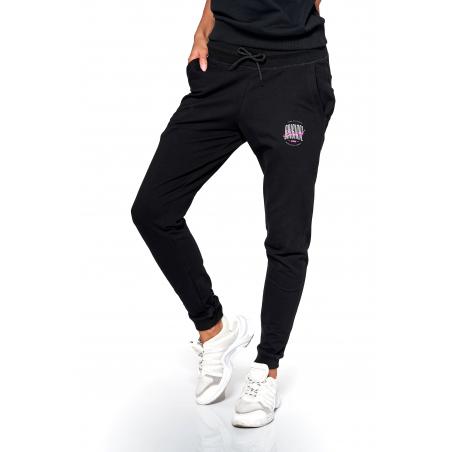 Spodnie dresowe damskie KSW ORIGINAL z biało różowym logo