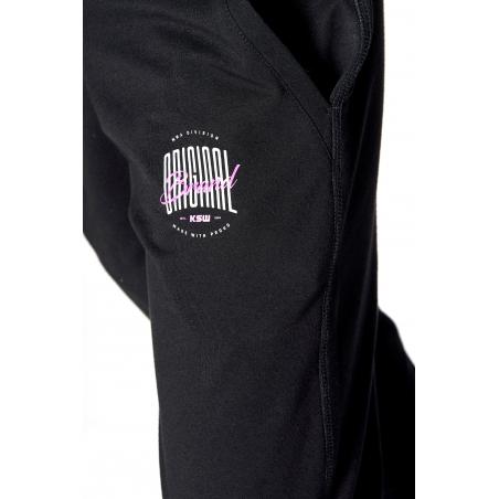 biało różowe logo KSW ORIGINAL spodnie dresowe damskie KSW czarne