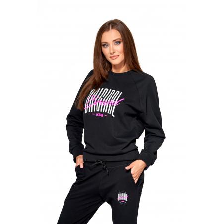 Bluza damska KSW ORIGINAL z nadrukiem czarna z suwakiem na plecach