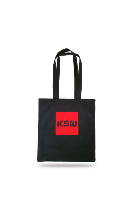 Torba bawełniana na ramię KSW czarna z czerwonym nadrukiem