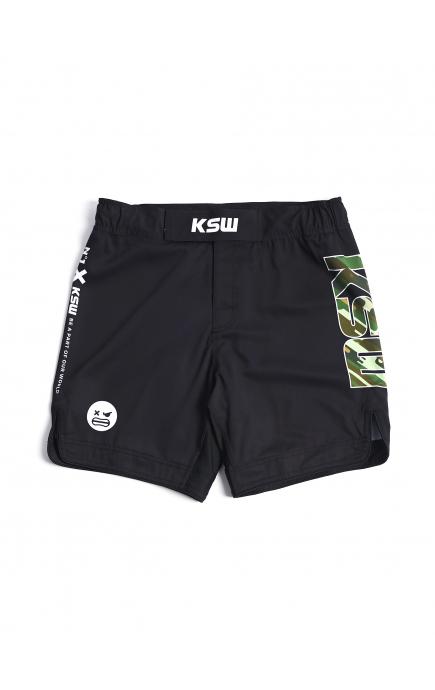 Spodenki MMA KSW CAMO czarne z nadrukami