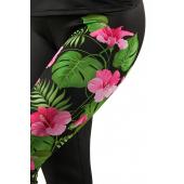 Kwiatowy nadruk na nogawce legginsów damskich sportowych KSW JUNGLE