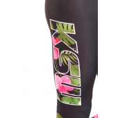 Nogawka legginsów damskich sportowych JUNGLE KSW z kwiatowym logo KSW