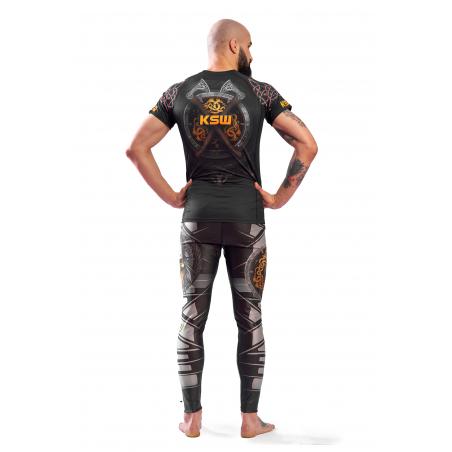 Legginsy męskie sportowe KSW MAD VIKING czarne z szarymi i pomarańczowymi wstawkami tył