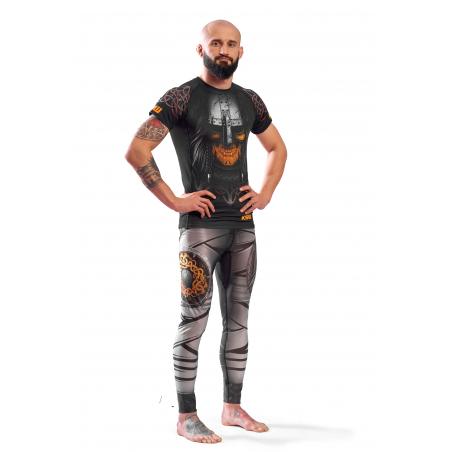 Legginsy męskie sportowe KSW MAD VIKING czarne z szarymi i pomarańczowymi wstawkami