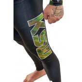 Nogawka legginsów męskich sportowych CAMO KSW czarnych z logo KSW w kolorach moro