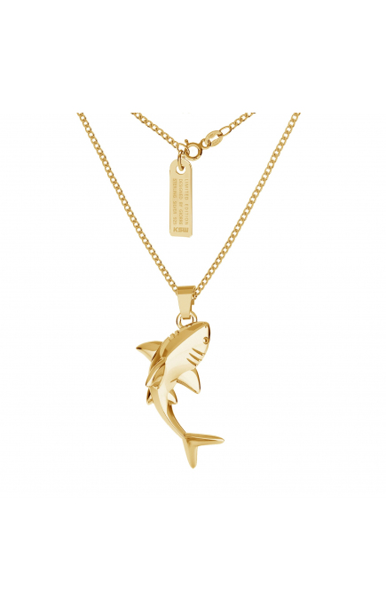 Silver necklace with shark...
