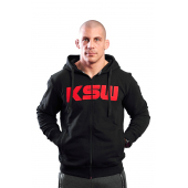 Bluza męska z kapturem KSW ZIP czarna rozpinana z czerwonym haftowanym logo
