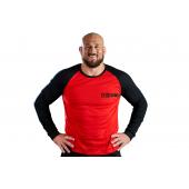 Longsleeve męski KSW CLASSIC czerwony z czarnymi rękawami i nadrukami