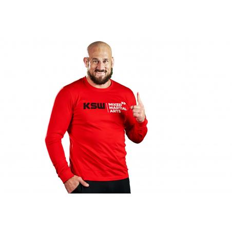 Longsleeve męski czerwony KSW z czarno-białymi nadrukami