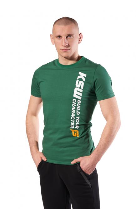T-shirt męski zielony KSW CAGE