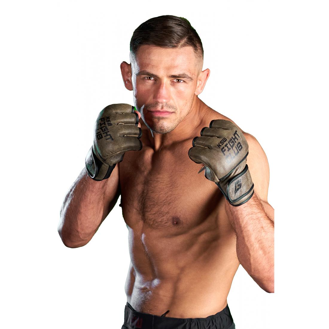 Rękawice MMA KSW fight club z nadrukiem brązowe skóra naturalna